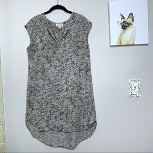 Cloth & Stone Grey Floral Print Sleeveless Dress